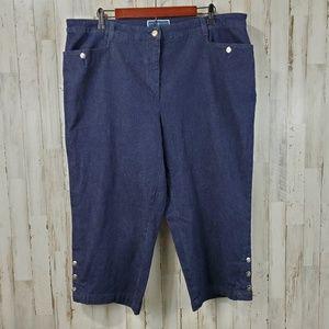 Karen Scott Womens Capris Jeans 18W Blue Buttons